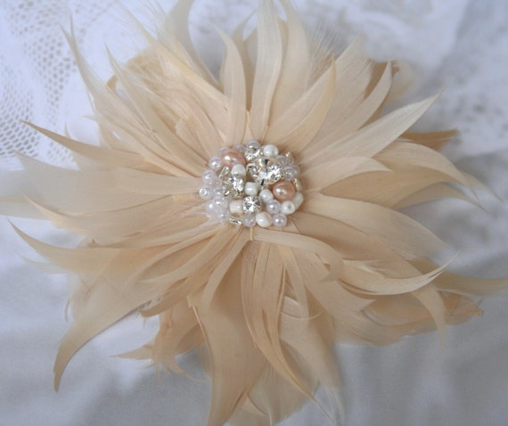 Custom Listing Beaded Feather Fascinator in Champagne