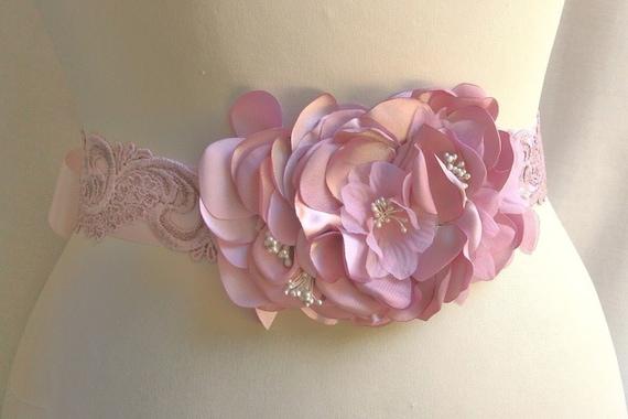 Pink Bridal Sash, Wedding Sash, Wedding Belt, Wedding Accessories, Bridal Belt, Blush Pink, Pearl, Satin Ribbon