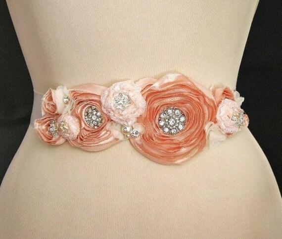 Bridal Sash, Wedding Belt, Bridal Belt, Wedding Sash, Wedding Accessories, Beaded, Satin Ribbon, Peach, Ivory, Ready to Ship