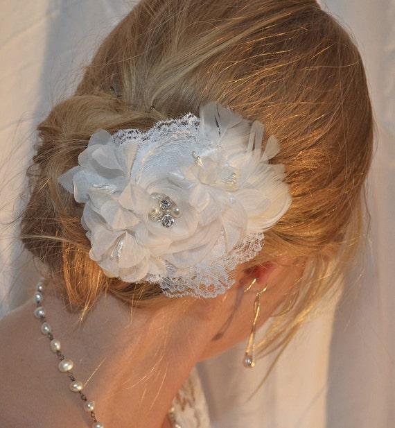 Rhinestone Bridal Fascinator, Wedding Headpiece, Bridal Hair Flower, Pearl, Lace, White, Wedding Hair Accessories, Ready to Ship