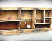 "Wooden Wall Shelf from Reclaimed Wood with Candle Holder. Wall-mounted. 42"" x 18"""