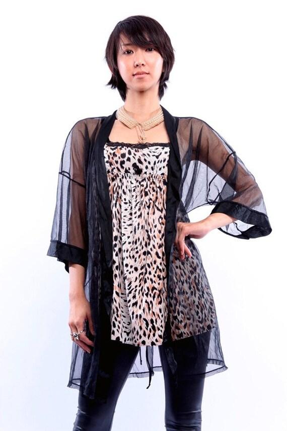 Womens Vintage 80s Sheer Black Kimono Evening Jacket