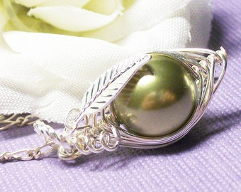 Sweet Pea In A Pod Necklace - Sterling Silver Swarovski Pearls. Choose Your Color Pearl For Family Sisters Bridesmaids Or Someone You Love