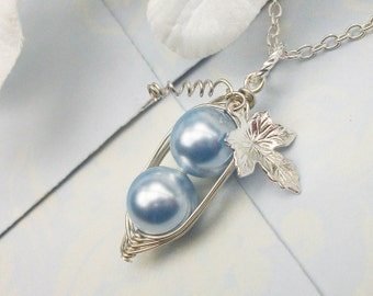 Peas In A Pod Precious Boys Silver Pendant Necklace With Vine and Swarovski Pearls. Ideal For Brides, Bridesmaids, Family, Friends Or Moms