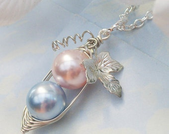 Two Peas in a Pod for a Special Girl and Boy in Silver with Vine and Leaf Swarovski Pearls Brides, Bridesmaids, Friends, sister Or Moms