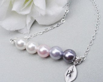 Swarovski Pearl Bar Necklace - ALL STERLING SILVER Initial Of Your Choice. 2,3,4 or 5 Pearls. Choose Your Colors