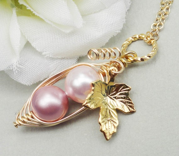 Two Peas In A Pod Pendant Necklace -  ALL GOLD Filled Two Shades Of Pink For Sisters Best Friends Daughters Bridesmaids Or Mom.