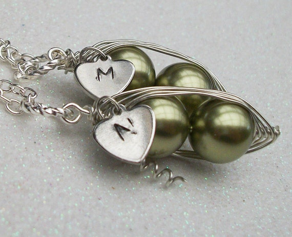 Best Friends or Twins Peas in a Pod with Personalized Heart Silver Pendant Necklace- Set of 2- You Choose the Initial