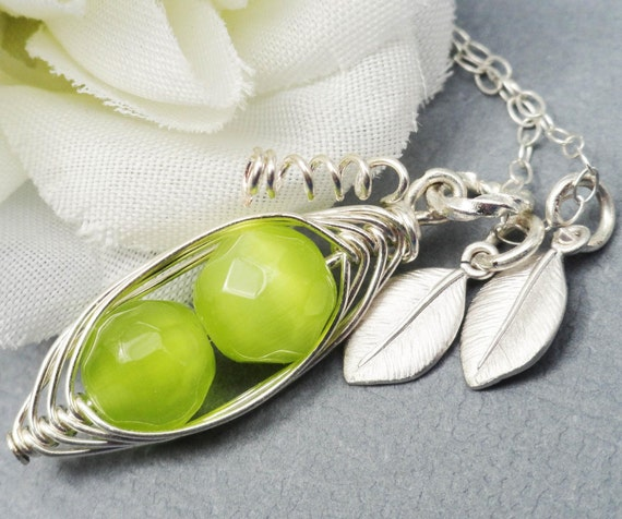 Two  Peas In A Pod ALL STERLING Silver Czech Faceted Green Stones.