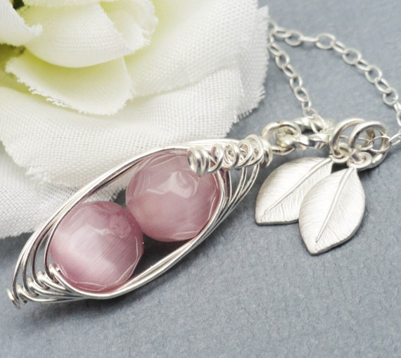 Two  Peas In A Pod ALL STERLING Silver Czech Faceted Dusky Pink Stones