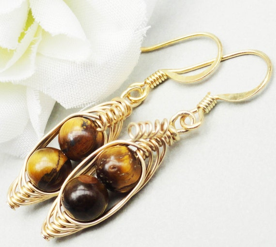 Two Peas In A Pod Gold Gemstone Earrings - Limited Edition Tiger Eye Gem Earrings Ideal For Friends Famly Or Mothers