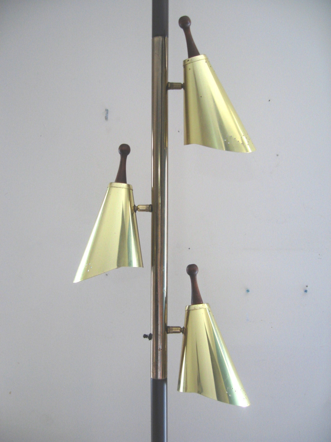 Mid Century Modern Brass Cone Tension Pole Lamp Light