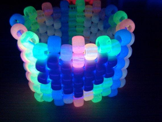 Glow in the dark rainbow heart kandi cuff