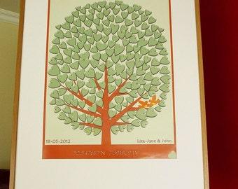 Personalised Wedding Tree Large Print  - 200 signatures - Guestbook Alternative - Love and Friendship Keepsake - Made in Ireland