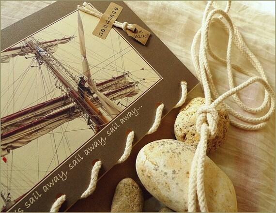 Let's Sail Away - Tall Ships - Sailing Knots Yacht Rope  - Nautical Greeting Card Handmade in Ireland