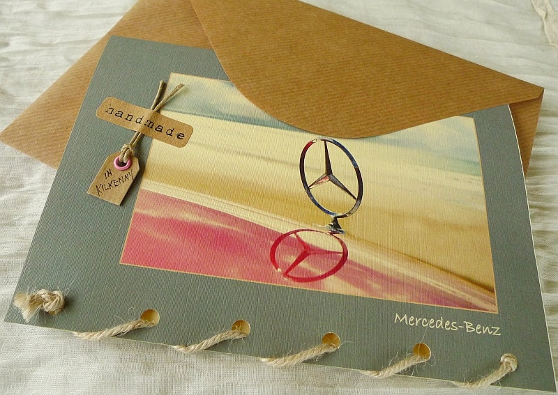 Classic car mercedes benz badge personalised greeting card for Mercedes benz card