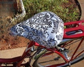 Bicycle Seat Cover- Saddle Cover- Waterproof oilcloth- Black and White damask  for Cruiser Bikes