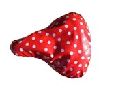 Bicycle Seat Cover- Saddle Cover- Waterproof oilcloth-Red and White polka dot  for Cruiser Bikes