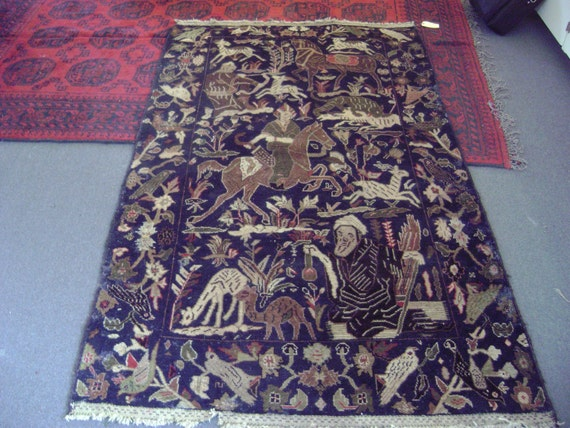 """Antique Pictorial Tribal Herati Rug Made in Afghanistan Animals and Figures on Navy Field 4'5"""" by 7' 5"""""""