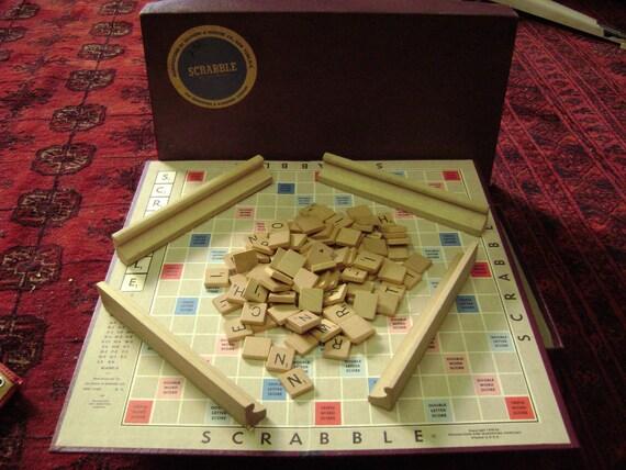 Vintage Scrabble Game Complete 100 Tiles 4 Racks For Game Night or Crafts 1953 Version