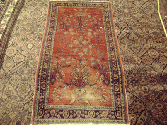 "100 Years Old Persian Sarouk Area Rug 2' 6"" 4' 9"" Coral Red Floral Pattern Silky Pile Excellent Condition"