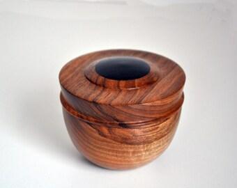 Turned walnut box with ebony inlay