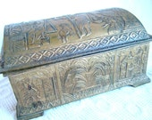 REDUCED 20 %  Antique Vintage EGYPTIAN style TRINKET Jewelry  / covered in Egyptian symbols etc.