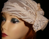 Vintage Style Hat Cream Gold Stretch Lace