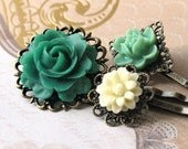 Lucky Chrams - Pretty Lucite Flower Hairpins in Filigree - Green.Cream. Lucky.