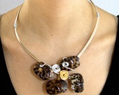Tiger eye necklace set in gold and silver copper wire(free shipping)