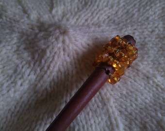 Amber and Copper Beaded Wooden Shawl Pin