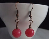 Maroon Jade Wrapped Dangle Earrings