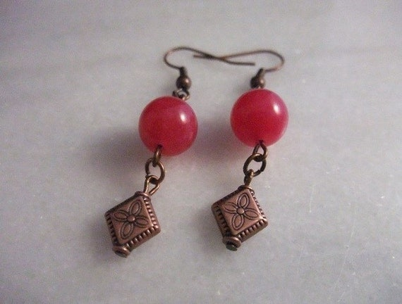 Womans Maroon Jade with Antique Copper Dangle Pierced