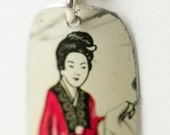 vintage tea tin earrings with chinese woman in traditional dress