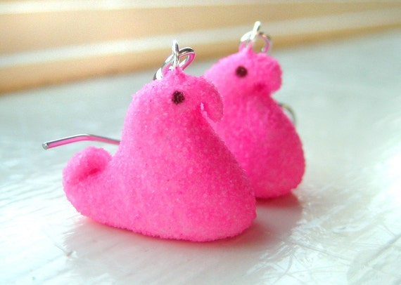 Pink chick peep earrings