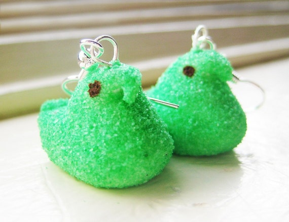 green peep earrings // gift packaged and ready for easter baskets