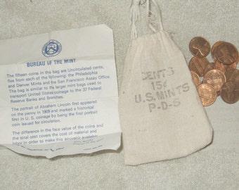Vintage Bureau Of The Mint P-D-S 15 Penny Set 1973 original muslin Bag Information sheet US Mint new old stock vintage pennies guy gift