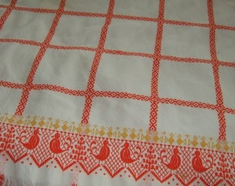 vintage chenille tablecloth orange and white cotton tablecloth rooster chicken hobnail chenille table cloth and napkin