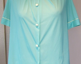 vintage Gossard Artemis turquoise and cream blouse  Peter Pan collar lingerie aqua and white and turquoise