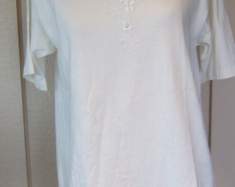 Vintage clothing Judy Knapp lace front tee with pearls and cut outs T shirt Tshirt