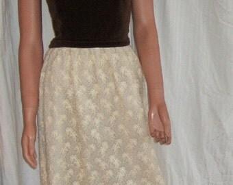 Vintage Lanz Original dress formal wear brown velvet party dress ivory lace dress vintage Bridal dress dinner dance dress prom gown