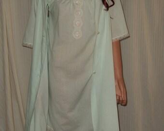 Vintage Lorraine auqa peignoir and night gown duster aqua floral lace size medium peignoir gown nightgown pajama bridal