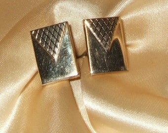 Vintage cufflink cuff link Swank brand gold tone cuff link geometric cufflink