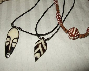Vintage tribal jewelry African batik bone bead  jewelry  necklaces mask necklaces.