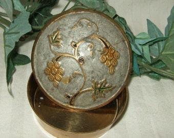 Vintage brass enamel trinket box India Jewelry box jewelry coffin jewelry casket brass enamel covered box brass covered box