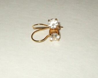 Vintage jewelry 925 Sterling pierced earrings CZ solitaire hoop earrings bridal jewelry wedding jewelry 1970s.