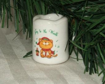 Vintage RUSS Christmas mini candle holder Russ Berrie kitty cat kitten candleholder porcelain miniature candle holder