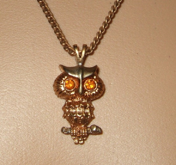 Vintage owl necklace  with amber rhinestone eyes.   Free shipping  Cont. US