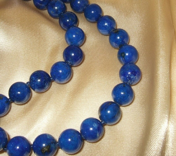 Vintage blue glass bead rope necklace,cobalt.  Continental US shipping is included