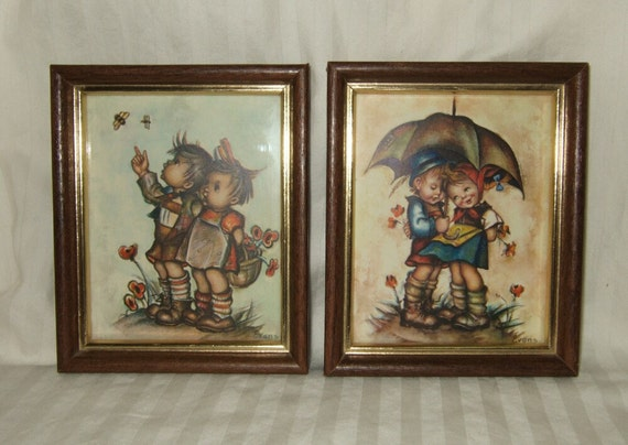Vintage Intercraft Industries Corp Evans kids prints  framed in wood and brass.  Cont. US Shipping included